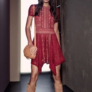 """BCBG Max Azria """"Aileen"""" Red lace dress, Sz.S NWT"""